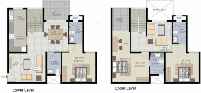 Uniworth Tranquil (3BHK+3T (2,193 sq ft)   Study Room Apartment 2193 sq ft)