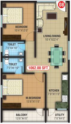 Abhee Lakeview (2BHK+2T (1,062 sq ft) Apartment 1062 sq ft)