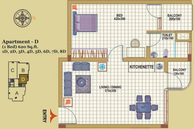 Creations Park Residency (1BHK+1T (620 sq ft) Apartment 620 sq ft)