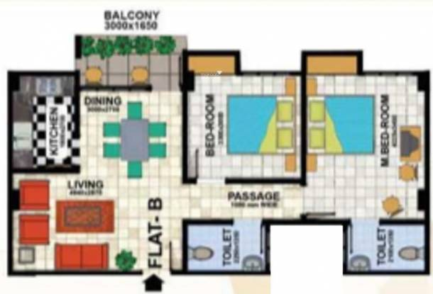 Uttarayan Heights (2BHK+2T (982 sq ft) Apartment 982 sq ft)