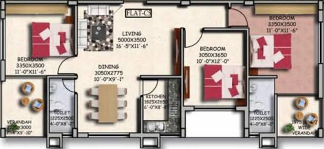 Sugam Serenity (3BHK+2T (1,443 sq ft) Apartment 1443 sq ft)