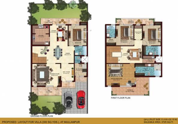 Omaxe Mulberry Villas (4BHK+4T (3,725 sq ft) + Servant Room Villa 3725 sq ft)