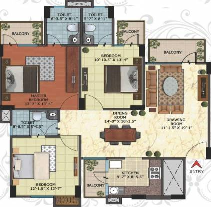 Niho Blossom (3BHK+3T (1,666 sq ft) Apartment 1666 sq ft)