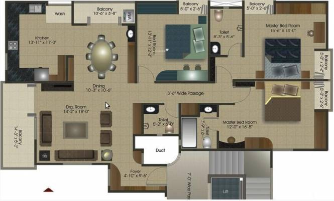 Othello Aadi VIsta (3BHK+3T (1,270 sq ft) Apartment 1270 sq ft)