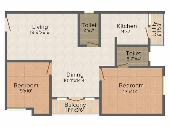 AGP Shreesham (2BHK+2T (950 sq ft) Apartment 950 sq ft)