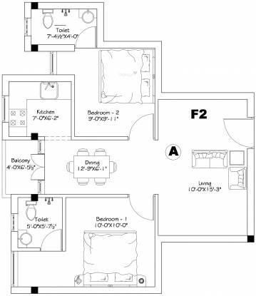 AGP Shreesham (2BHK+2T (832 sq ft) Apartment 832 sq ft)