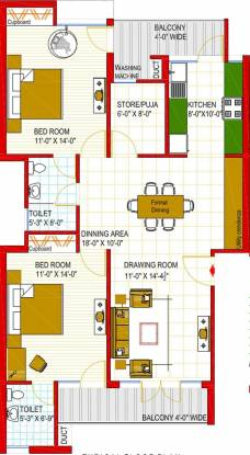 Vision Nirwana Greens (2BHK+2T (1,230 sq ft) + Pooja Room Apartment 1230 sq ft)