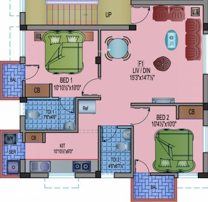 Aavaasa Lakshmi (2BHK+2T (871 sq ft) Apartment 871 sq ft)