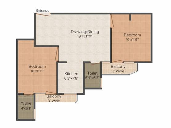 RLB Casa (2BHK+2T (842 sq ft) Apartment 842 sq ft)
