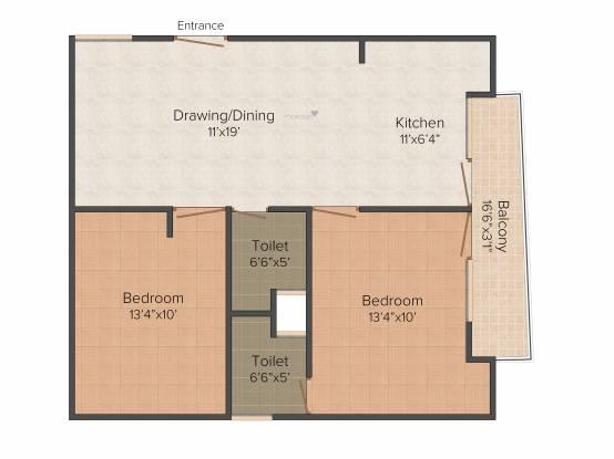 RLB Casa (2BHK+2T (980 sq ft) Apartment 980 sq ft)