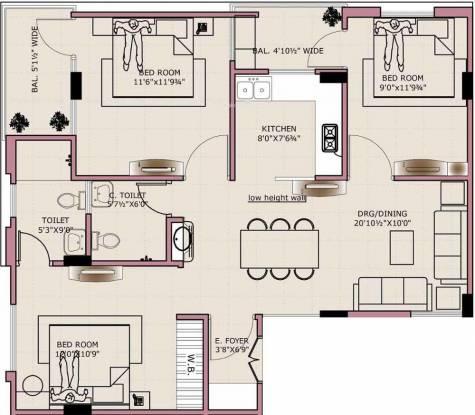 Tirupati Eeti Shubh (3BHK+2T (1,400 sq ft) Apartment 1400 sq ft)