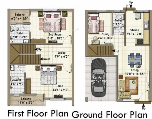 Annai Ahalyaa (3BHK+3T (1,290 sq ft)   Study Room Villa 1290 sq ft)