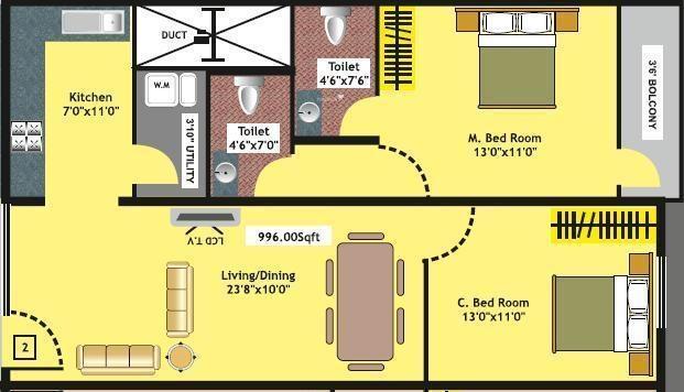 Mithra Raji Residency (2BHK+2T (996 sq ft) Apartment 996 sq ft)