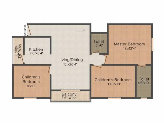 Mithra Raji Residency (3BHK+2T (1,210 sq ft) Apartment 1210 sq ft)
