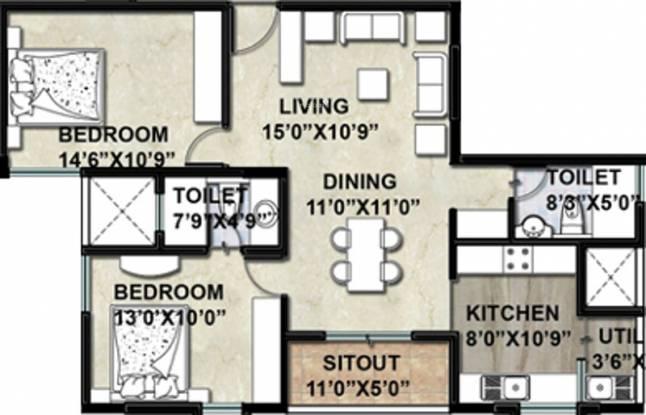 Vajram Elina (2BHK+2T (1,116 sq ft) Apartment 1116 sq ft)