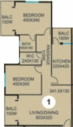 CV Darius Horizon (2BHK+2T (1,108 sq ft) Apartment 1108 sq ft)