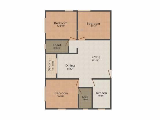 Rajat Boulevard (3BHK+2T (1,454 sq ft) Apartment 1454 sq ft)