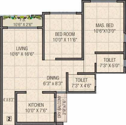 Dimples Galassia (2BHK+2T (1,125 sq ft) Apartment 1125 sq ft)