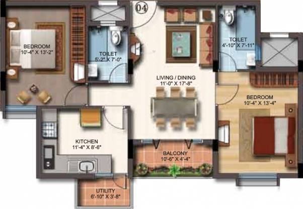SSV Coral (2BHK+2T (1,025 sq ft) Apartment 1025 sq ft)