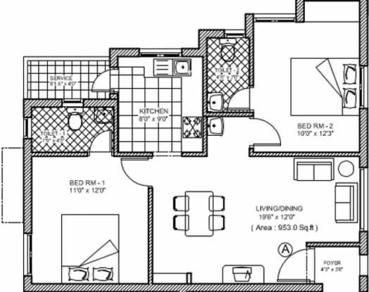 Jasmine Varshana Flats (2BHK+2T (953 sq ft) Apartment 953 sq ft)