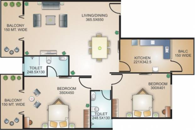 Models Marine Heights (2BHK+2T (1,194 sq ft) Apartment 1194 sq ft)