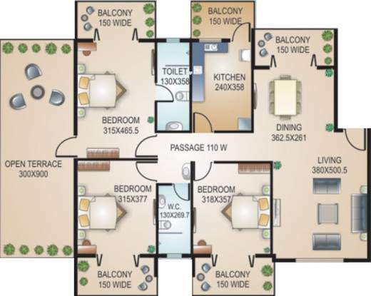 Models Ange Marie (3BHK+2T (2,023 sq ft) Apartment 2023 sq ft)