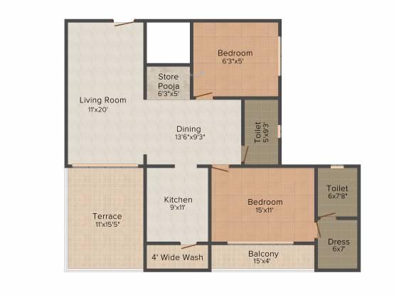 Abhijit Jayanti Mansion 9 (2BHK+2T (1,300 sq ft) Apartment 1300 sq ft)