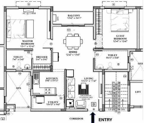 Rakindo Orchids (2BHK+2T (1,115 sq ft) Apartment 1115 sq ft)