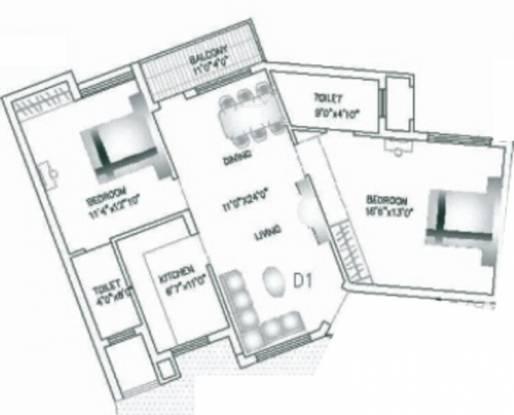 Agni Rainbows End (2BHK+2T (1,140 sq ft) Apartment 1140 sq ft)