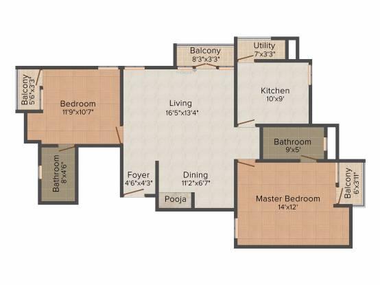 Newry Daffodils (2BHK+2T (1,336 sq ft)   Pooja Room Apartment 1336 sq ft)