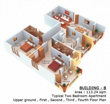 Nanu Sapana Pavillion (2BHK+2T (1,218 sq ft) Apartment 1218 sq ft)