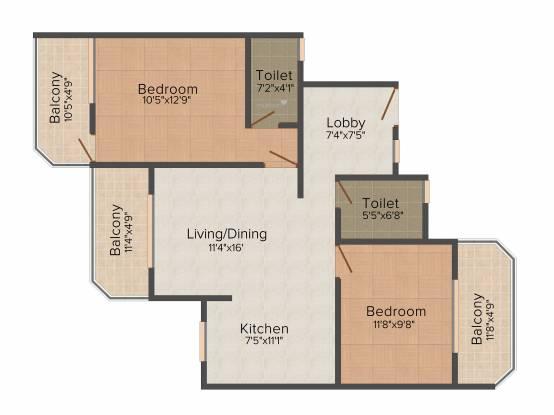 Nanu Sapana Sagar (2BHK+2T (1,025 sq ft) Apartment 1025 sq ft)