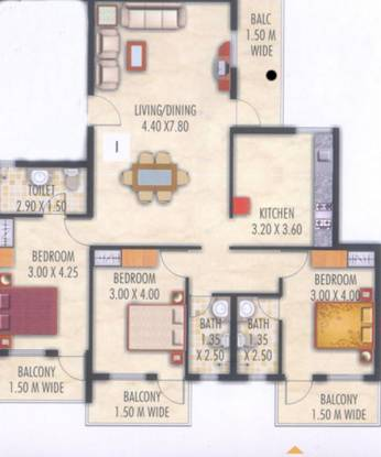 Devashri Gopika Vihar (3BHK+3T (1,629 sq ft) Apartment 1629 sq ft)