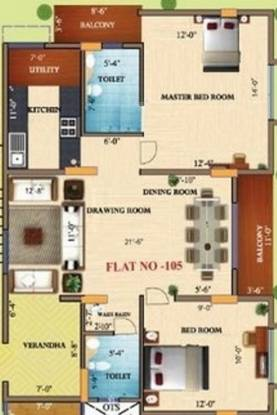 ChandraKantha GCA Rainbow (2BHK+2T (860 sq ft) Apartment 860 sq ft)