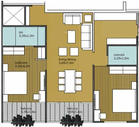 BCM Park (2BHK+2T (1,012 sq ft) Apartment 1012 sq ft)