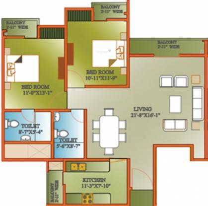 Ansal Celebrity Woods (2BHK+2T (1,360 sq ft) Apartment 1360 sq ft)
