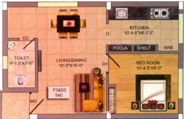 Infraz Heavenz (1BHK+1T (540 sq ft) Apartment 540 sq ft)