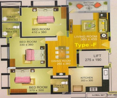 KPV and VS Group Golden Metro (3BHK+3T (1,348 sq ft) Apartment 1348 sq ft)