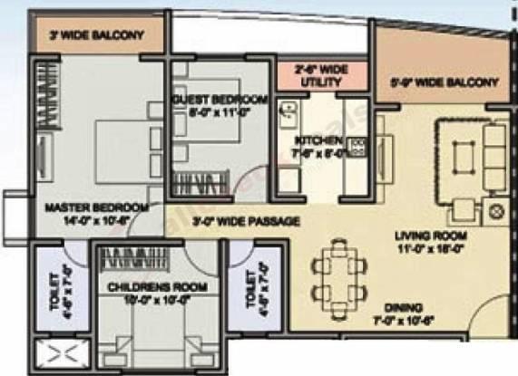 Indiabulls Centrum (3BHK+2T (1,680 sq ft) Apartment 1680 sq ft)