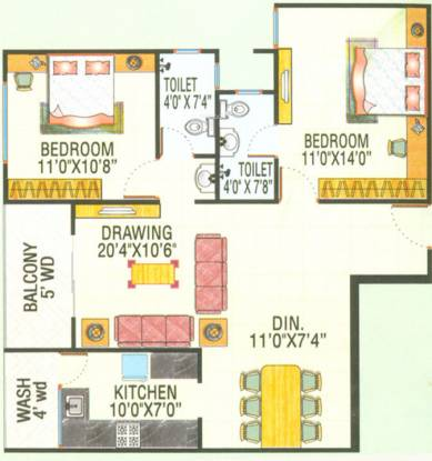 Sunil Nilgiri Apartment (2BHK+2T (1,150 sq ft) Apartment 1150 sq ft)