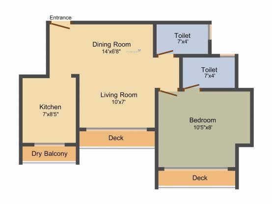 Mirchandani Shalimar Serenity (1BHK+2T (695 sq ft) Apartment 695 sq ft)