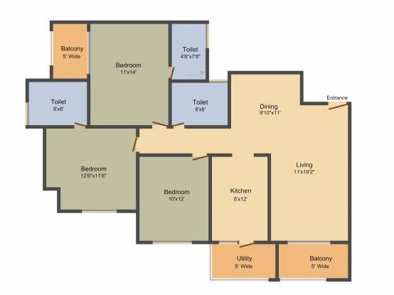 MIMS Habitat (3BHK+3T (1,565 sq ft) Apartment 1565 sq ft)
