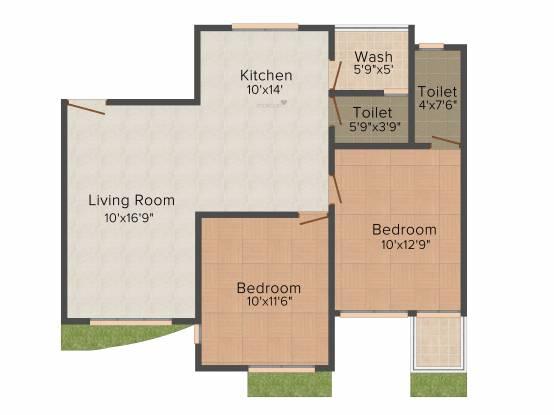 Raghuvir Saffron (2BHK+2T (1,191 sq ft) Apartment 1191 sq ft)