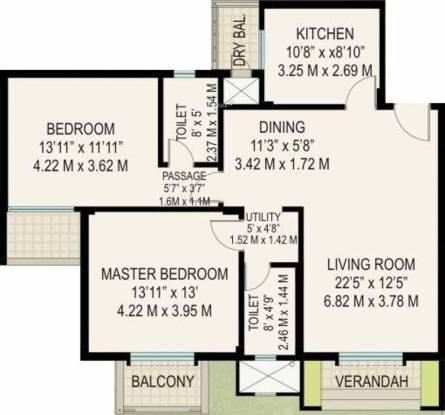 Raheja Viva (2BHK+2T (1,345 sq ft) Apartment 1345 sq ft)