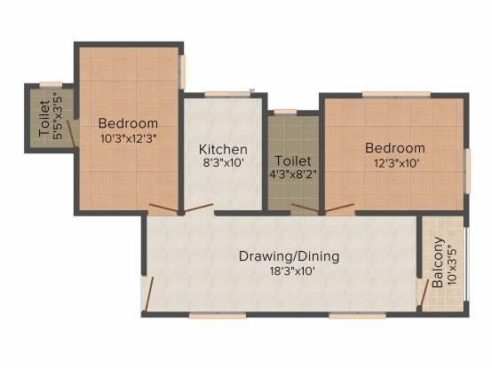 Neelanchal Krishna Plaza (2BHK+2T (1,179 sq ft) Apartment 1179 sq ft)