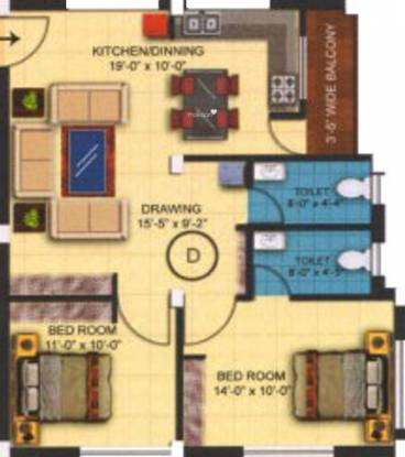 Surya Varati Estcon Pvt Ltd Sukanti Devi Enclave (2BHK+2T (976 sq ft) Apartment 976 sq ft)