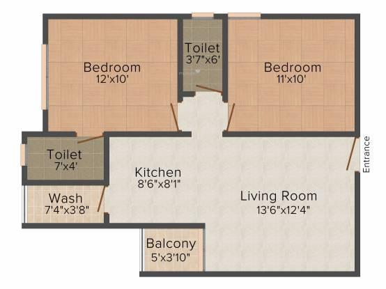 Labh Prayosha Heights (2BHK+2T (920 sq ft) Apartment 920 sq ft)