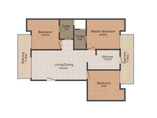 TDI Espania Floors (3BHK+2T (1,224 sq ft) Apartment 1224 sq ft)