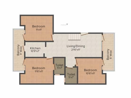 TDI Espania Floors (4BHK+3T (1,499 sq ft) Apartment 1499 sq ft)