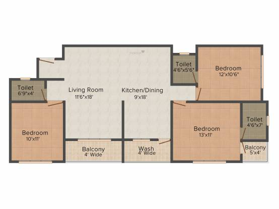 Madhuvan Kishan Classic (3BHK+3T (1,625 sq ft) Apartment 1625 sq ft)